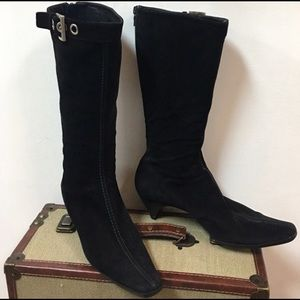 PRADA Black Leather/Suede Boots